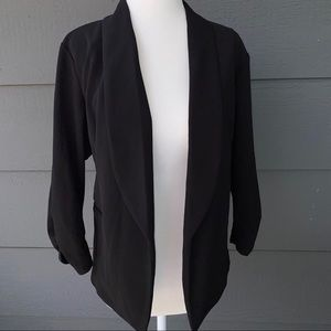 Maurices Black Open Front Ruched 3/4 Sleeve Blazer